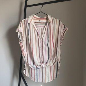 Madewell rainbow stripe button down blouse